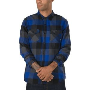 VANS Blue Flannel Plaid Long Sleeve Collared